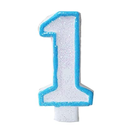 Dorigan Home Series Blue Glitter Numeral 1 Number Candle White Premium 1St Birthday Cake