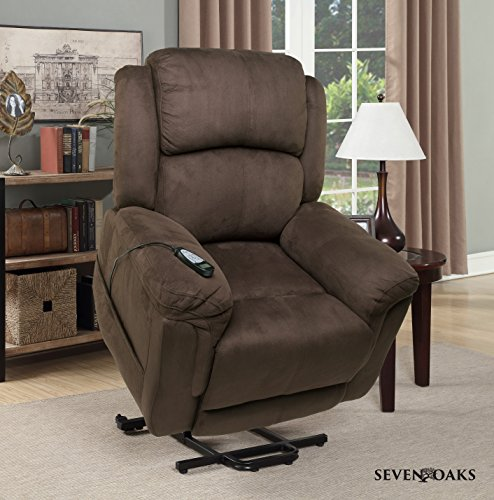 Seven Oaks Power Lift Recliner for Seniors | Electric Chair for the Elderly with Heated Massage | Adjustable Controls & Full Range of Motion | Soft Microfiber | (Model # CHOCMICROMOD) by Seven Oaks