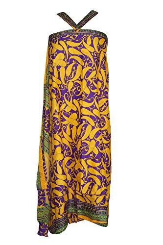 (Womens Yellow Wrap Skirt Bohemian Vintage Reversible Sari Two Layer Beach Dress OneSize)