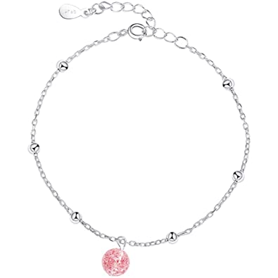 Amazon Com R Timer 925 Silver Bracelet Simple Strawberry Crystal