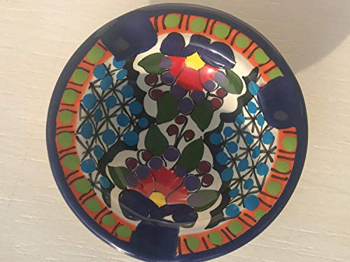 Ashtray Signed - Talavera Ceramic Ashtray 4'' Modern Art Design Authentic Puebla Mexico Pottery Hand Painted Design Vivid Colorful Art Decor Signed [Lavender Dots]