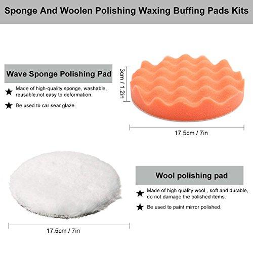 Yosoo Buffing Pads Polishing Pads, 7 Pcs Waxing Sponge Pads Kit Car Polisher with M14 Drill Adapter (7 Inch) by Yosoo (Image #1)'