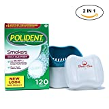 Polident Smokers Denture Cleaner 120 Tablets Bundled With Denture Cleaning Cup Case With Lid Basket