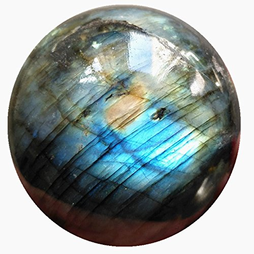 DingSheng 40-45mm Natural Blue Flashy Labradorite Ball Sphere Gemstone Carved Crystal Healing Chakra Metaphysical &Free Wood Stand & pouch -