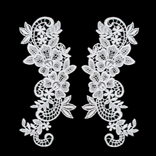 Pair of White or Ivory Floral Venice Lace Applique Embroidered Bridal Guipure Patch Motif (2 pieces) (White)