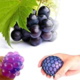 Mesh Squishy Ball Anti Stress Squeeze Grape Ball Relieve Pressure Ball Toy with Random Color - 1 PCS