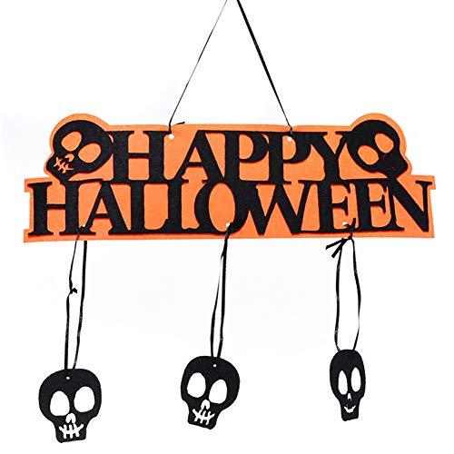 LIANHEXIN Happy Halloween Hanging Hangtag Pumpkin Skull Bat Doorplate Props Window Decor Christmas Hanging Sign B]()