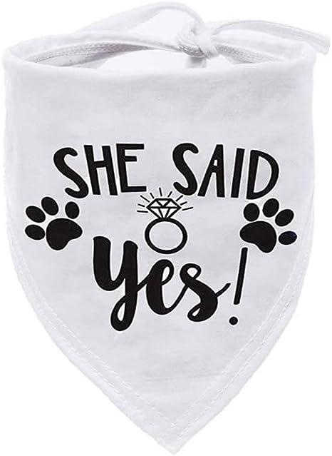 Please sSay Yes Embroidered Dog Bandana Engagement Announcement dog scarf Custom Dog Bandana wedding announcement
