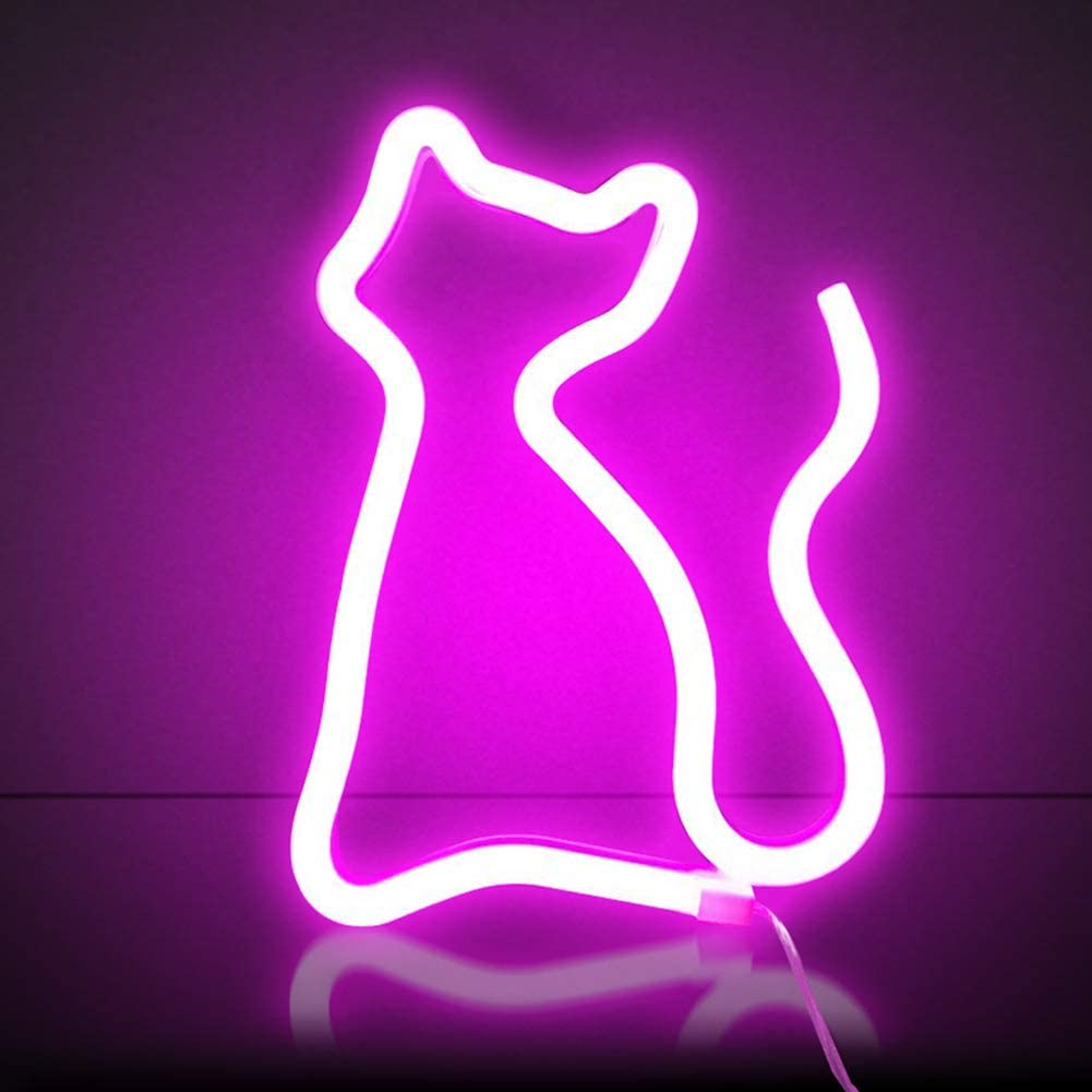 Xiyunte Pink Cat Neon Light Led Neon Sign Wall Decor Battery Or Usb Powered Cat Lights Pink Neon Signs Light Up Indoor Decor For Kids Room Bar Party Wedding Christmas