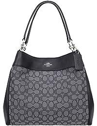 Lexy Shoulder Bag in Outline Signature khaki/chalk F57612