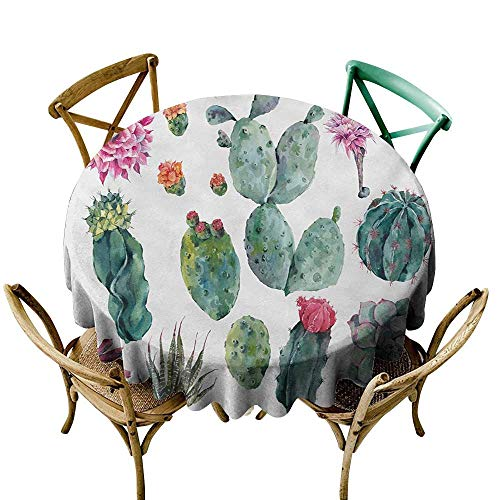 Wendell Joshua The Pattern Round Table Cloth 48 inch Nature,Desert Botanical Herbal Cartoon Style Cactus Plant Flower with Spikes Print,Green and Pink Indoor/Outdoor Spillproof Table Cloth