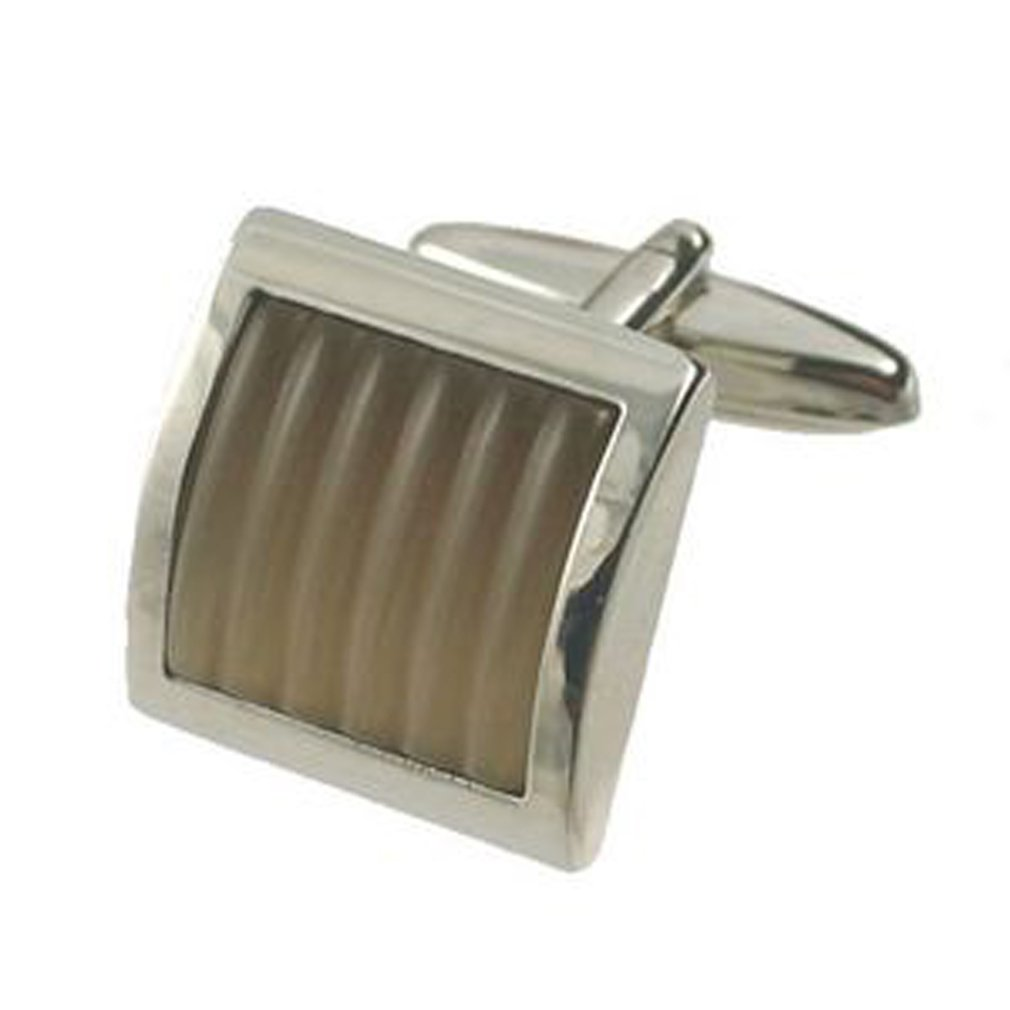 Select Gifts Pair Fibre Optic Stripe Brown Cufflinks Optional Engraved Personalised Box