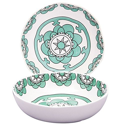 Deep Pasta Plate (Set 2 Soup Bowls Pasta Salad Plates, 37 Ounce Each, Hand Made Porcelain, Mint Blue, Large)