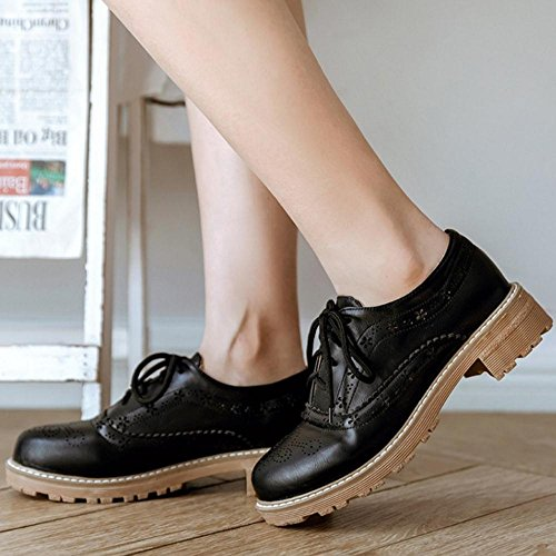 COOLCEPT Women Fashion Brogue Shoes Thick Sole Black MGfl2guL