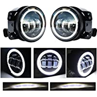 2pcs 4 Inch 30w Cree Led Fog Lights with white halo for Jeep Tractor Boat Led Fog Lamps Bulb Auto Led Headlight Driving Offroad Lamp for Jeep Wrangler jk jku Dodge Chrysler Front Bumper Lights