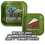 "Birthday Party Plate Sets for Mining Themed Parties (Service for 8) - New Thicker Plates! - Tableware - Pixel Style Miner Plates - Includes Eight (8) 9"" Dinner Plates & Eight (8) 7"" Dessert Plates"