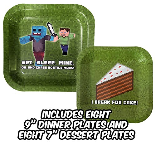 Birthday Party Plate Sets for Mining Themed Parties (Service for 8) - New Thicker Plates! - Tableware - Pixel Style Miner Plates - Includes Eight (8) 9