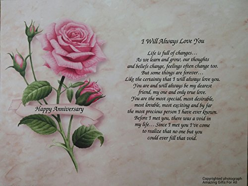 """Anniversary Gift """"I Will Always Love You"""" Poem For Wife G..."""