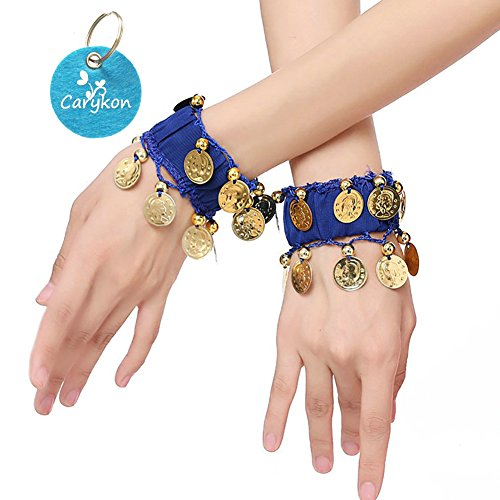 Carykon Belly Dance Wrist Arm Anklet Bracelets Gold Coins Halloween Costume Party Accessories, Set of 4 (2 Pairs) (Blue)