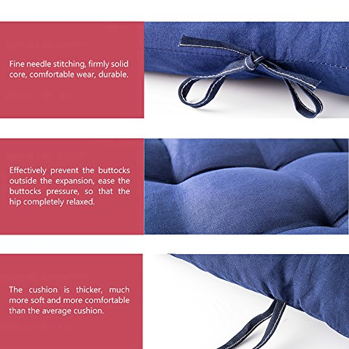 WishingTree Lounger Chair Cushions chaise Solid Color Mattress for Garden Outdoor Indoor 60 Inch Navy Blue Grey (Navy blue) by WishingTree (Image #5)