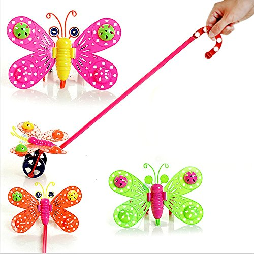 [Lovely Butterfly Toys Baby Kids Pull Toys Children Educational Cartoon Bee Shaped Hand Push Plastic Handle Walker Toddler Walking Walker] (Spongebob Outfit)