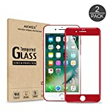 (Pack of 2) iPhone 7 8 Screen Protector, Akwox Full Cover iPhone 8 7 Tempered Glass Screen Protector with ABS Curved Edge Frame, Anti-Fingerprint HD Screen Protector Film for Apple iPhone 8 7 (Red)
