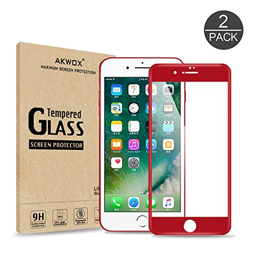 (Pack of 2) iPhone 7 Plus Screen Protector, Akwox Full Cover iPhone 7 Plus Tempered Glass Screen Protector with ABS Curved Edge Frame, Anti-Fingerprint HD Screen Protector Film for iPhone 7 Plus (Red)
