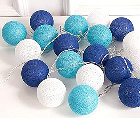 10 Feet Blue Shades Cotton Ball Fairy String Light Lamp Beach Themed Under The Sea Party Wedding Patio Garden Home Decoration Nursery Mobiles Christmas Tree Hanging (Lamps For Bedrooms Beach)