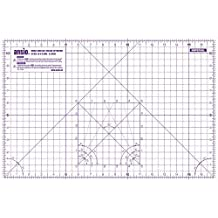 ANSIO A3 Double Sided Self Healing 5 Layers Cutting Mat Imperial/Metric 18 Inch x 12 Inch / 45cmx 30cm - Transparent Purple