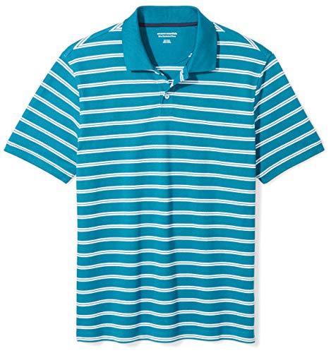 (Amazon Essentials Men's Slim-fit Cotton Pique Polo Shirt, Teal Stripe, Large)