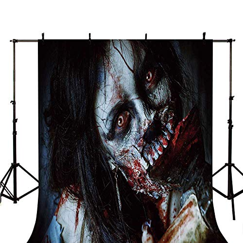 Zombie Decor Stylish Backdrop,Scary Dead Woman with Bloody Axe Evil Fantasy Gothic Mystery Halloween Picture for Photography,59