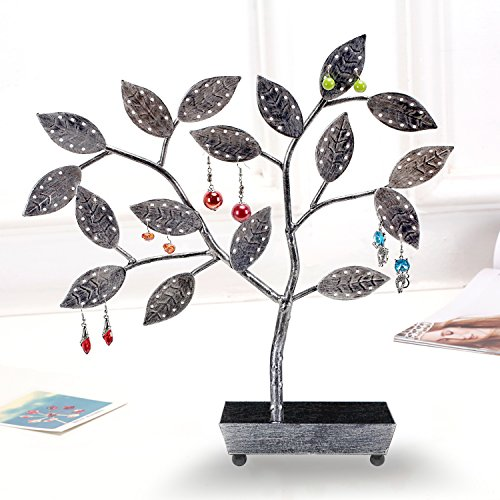 MyGift Tree Design Jewelry Hanger, Earring Necklace Holder with Ring Dish Tray, Silver by MyGift (Image #1)