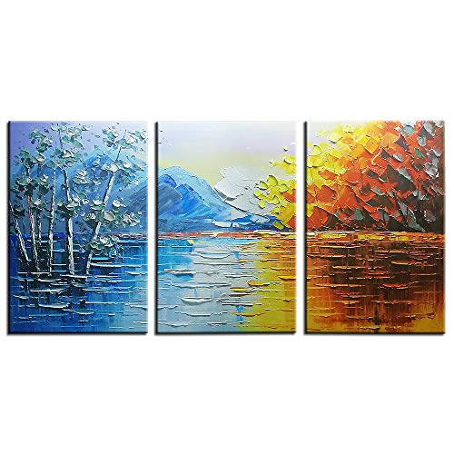 Okbonn-Extra Large Wall Art Landscape Oil Painting on Canvas Blue and Yellow 3 Panels Modern Abstarct Art Streched and Framed Horizontal Wall Art for Living Room Bedroom Dining Room Office(16x24inchx3 - Iii Framed Oil Painting