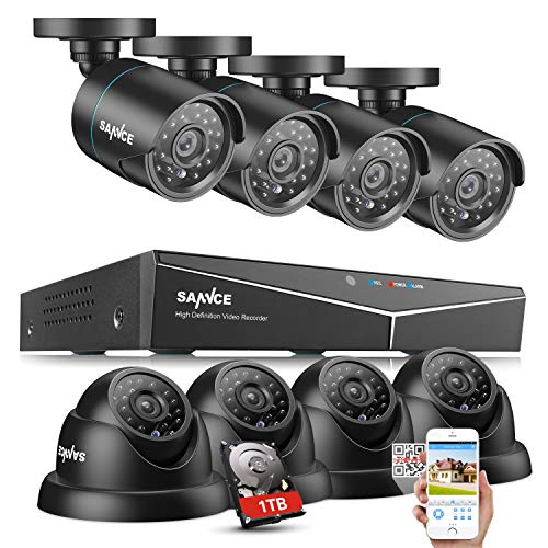 SANNCE 8-Channel HD 1080N Video Security System DVR Kit with 1TB Hard Drive and (8) 720P Bullet and Dome Cameras with IR Night Vision LEDs and IP66 Weatherproof Housing (Weatherproof Camera Housing)
