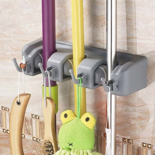 Multi-functional Plastic Mop Broom Holder with Hooks and Slots #1113 (3A4) by Beststar