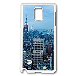 VUTTOO Rugged Samsung Galaxy Note 4 Case, New York City Blue Dusk Hardshell Case for Samsung Galaxy Note 4 N9100 PC White