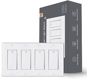 MoesGo WiFi Wall Push Button Smart Light Switch Smart Life/Tuya App Wireless Remote Control Single Pole or Multi-Control Association Voice Control with Alexa,Google Home White 4 Gang