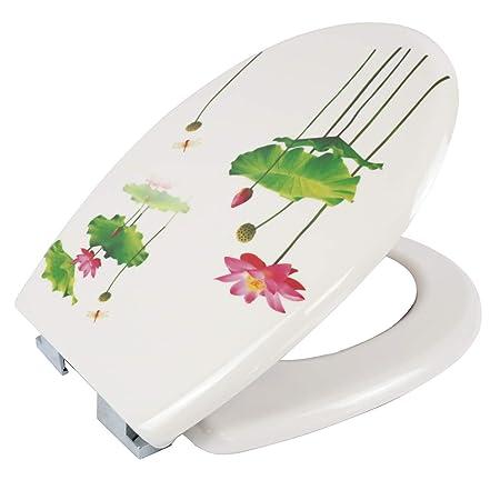 Tapa de Inodoro WC Universal Cierre Suave y Bajada Lenta de Pl/ástico Duro Tapa de Inodoro con Freno F/ácil para Instalaci/ón y Desmontaje