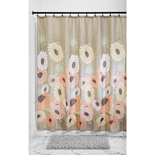 InterDesign Wild Flowers Fabric Shower Curtain, 72 x 72, Pas