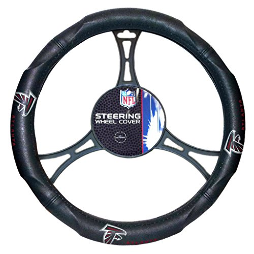 15 X 15 Inches NFL Falcons Steering Wheel Cover, Football Themed Three Sides Team Logo Name Rubber Grip Sports Patterned, Team Logo Fan Merchandise Athletic Team Spirit, Black Red White, Pvc by FN