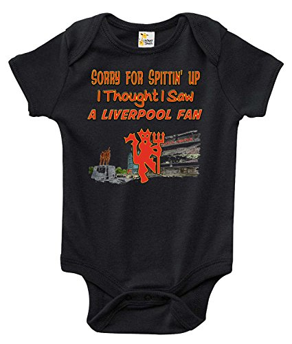 Sorry for Spittin Up I Thought I Saw a Liverpool Fan Baby Bodysuit Man U Clothes (3-6 Months, Black) ()