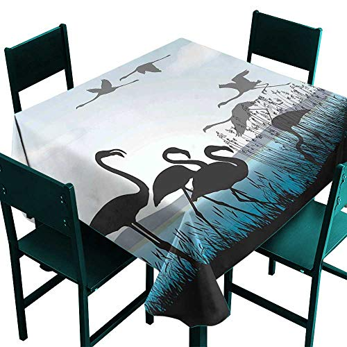 Glifporia Vintage tablecloths Flamingo,Flamingo Silhouettes Walking Flying Waterfront and The River Reed Bed,Black Pale Blue Grey,W50 x L50 Square Tablecloth ()