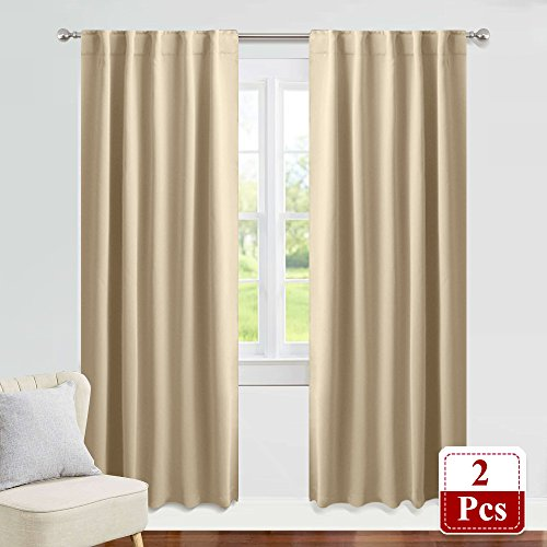 PONY DANCE Beige Curtains 84 inch - Living Room Blackout Window Treatments Darkening Fabric Heavy-Duty Soft Back Loop Draperies Energy Saving Home Decor, W 42