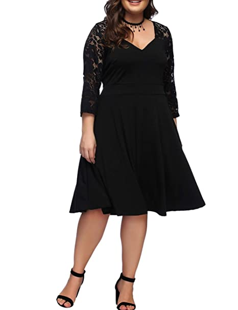 FeelinGirl Women\'s V-Neck Stitching Lace Plus Size Dress XL-4XL