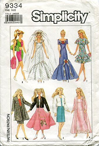 Simplicity Pattern 9334 ~ Wardrobe for 11-1/2 Inch Dolls Such As Barbie and Maxie - One Size -