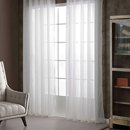(Guken Ring Top Linen Gray Luxurious Wide Solid Durable Material Curtains 2 Grommet Semi Sheer Curtains for Bedroom Living Room Set of 2 Curtain Panels Beautigul 54 x 95 inch White)