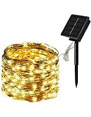 Tomshin Fio de luz de cobre para painel solar com 8 modos Luzes de fada Decoração de festa de jardim à prova d'água (20m 200 luzes, verde)