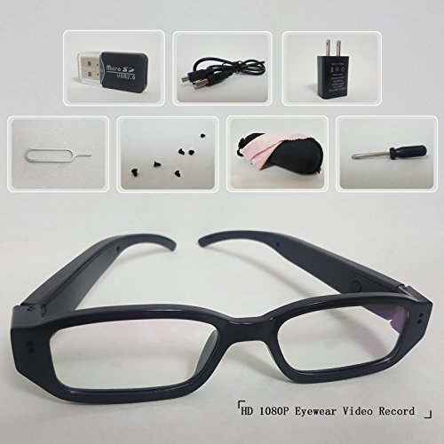 Spy Camera Glasses Hidden Full HD 1080P 8G Eyeglasses Camcorder With Video Taking Of Spectacles Inspection For Halloween And Christmas Gift (57 Days Until Halloween)