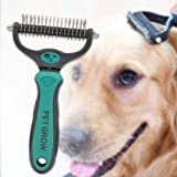 Petgrow Professional Dematting Comb with 2 Sided Rake for Dogs Cats Rabbits, Pet Grooming Tool Brush Loose Undercoat, Mats, Tangles, Flying Hair