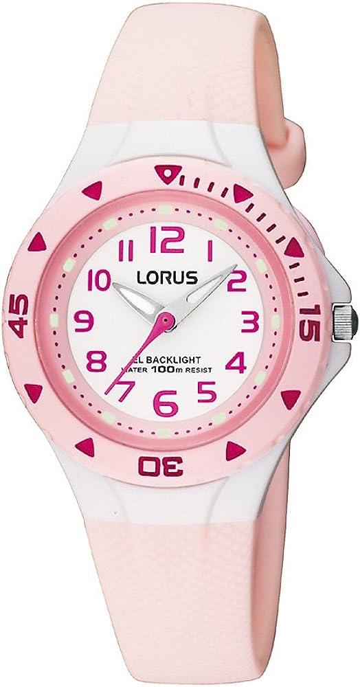 Lorus RRX49CX9 - Reloj analógico infantil de cuarzo con correa de plástico rosa (luz) - sumergible a 100 metros